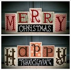 Custom made to order reversible block set. Happy Thanksgiving on one side Merry Christmas on the other side. Chalk label on base block. Two holiday #woodencraftideas