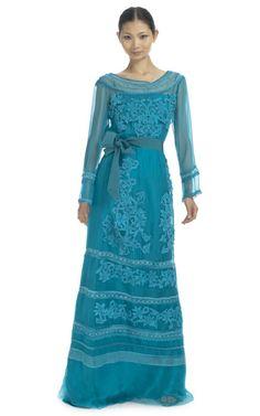Shop Alberta Ferretti Long Sleeve Lace Maxi Dress at Moda Operandi