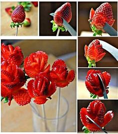 How to Make Strawberry Roses--These make a great garnish or a beautiful fruit bouquet.  Link includes written instructions as well.