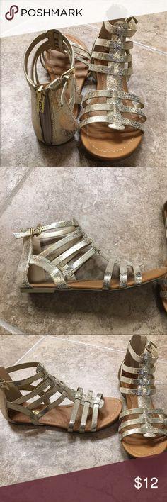 Gold crackle zip back strap sandals Gold crackle zip back strap sandals   Worn 3 times Soda Shoes Sandals