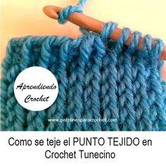 """Como tejer punto """"tejido"""" similar a jersey de dos agujas en crochet tunecino"""