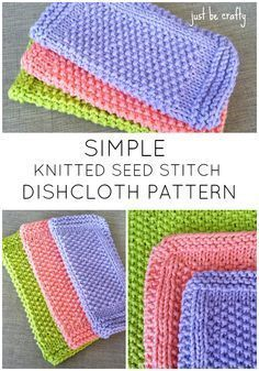 FREE Pattern! Seed Stitch Dishcloth knitting pattern by Just Be Crafty. Super quick and easy knit!
