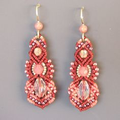 Macrame Earrings in Dark and Light Pinks - Micro Macrame Beaded Earrings, Kera style
