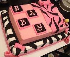 Pink and Zebra Inspired Girl Baby Shower Cake