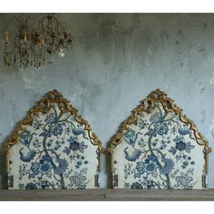 Eloquence One of a Kind Antique Twin Headboards Indigo Set of 2 @LaylaGrayce