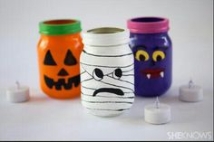 Empty baby food jars , paint or cover with tissue paper then add a flameless tealight candle.  G;)