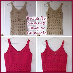 Butterfly Summer Tank Top - Free Crochet Pattern. ~❀CQ #crochet #apparel