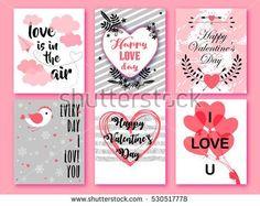 Happy Valentines day. Set of Valentines romantic greeting card, invitation, poster design templates. Love