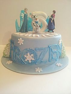 Frozen cake with elsa  Olaf and anna with frosted glass