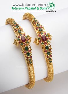 22 Karat Gold Kada with Emeralds & Rubies - 1 Pair