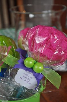 Pencil Bath Puff Lollipop Girls Spa Party Favor by KristinsWhimsy