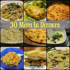 30 Minute Dinners - meals that can be made in 30 minutes or less #easy #quick #recipes