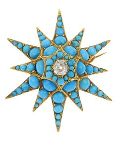 A late Victorian 15ct gold turquoise and diamond star brooch, circa 1880. The graduated circular-shape turquoise cabochon star, with old-cut diamond centre.