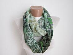 infinity scarf Loop scarf Neckwarmer Necklace scarf  Chiffon scarf   White  Green  Black. via Etsy.