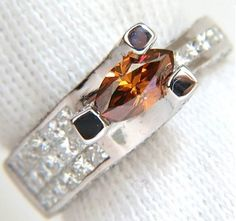 #Jewelry Natural Fancy Orange Brown 2.05ct Diamond Ring 14kt Tension Float