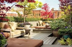 37 Stylish Patio & Outdoor Space Design Ideas is part of Terrace garden design - Discover how these outdoor spaces, terraces, and patio designs from Architectural Digest create the perfect atmosphere for lounging, entertaining, or dining alfresco Terrace Garden Design, Rooftop Design, Patio Design, Rooftop Terrace, Balcony Garden, Roof Balcony, Condo Balcony, Terrace Ideas, Rooftop Gardens
