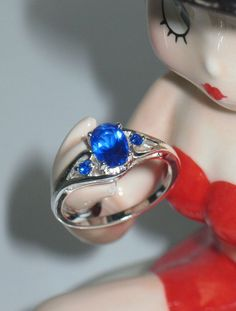 Oval Cut Blue CZ Ring w oval  Accents Silver Plate Sz 7 NEW #Handmade #SolitairewithAccents