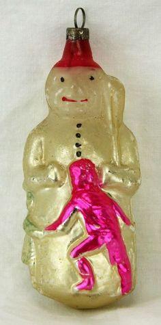 Antique German Blown Glass Christmas Ornament Snowman & Dancing Children ca1910 SOLD $750 Dec 5, 2014, eBay