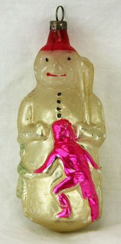 Antique German Blown Glass Christmas Ornament Snowman & Dancing Children ca1910 SOLD $750 Dec 5, 2014, eBay