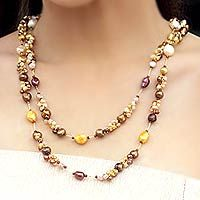 Pearl strand necklace, 'Delightful Brown' by NOVICA