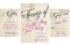 25 sets minimum order. Customizable. $100! Flourishing Script Wedding Invitations. Trendy by mybigdaydesigns