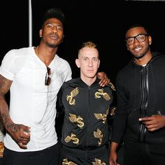 #behindthescenes | NBA players Iman Shumpert and John Wall posed with fashion designer Jeremy Scott #backstage at the #Y3show. #adidas #Y3 #NYFW #bts