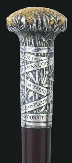 Lalique Mere La Terre Fleurs Et Feuillage Cane Handle