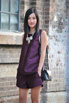 Cute purple shorts set in purple satin.