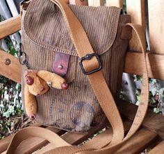 Vintage Striped Kipling Bag with Pattama monkey, Vintage Gravy Stripe Messenger bag with Monkey , leather trim kipling messenger bag purse by LuckSy on Etsy