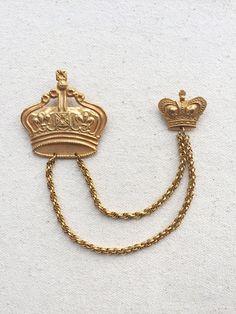 Miriam Haskell Crown Brooch / Russian Gold / Regal by DanasLegacy