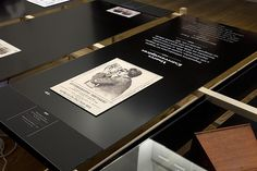 Exhibit label - black and white with inset image