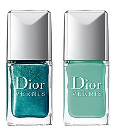 Dior Vernis nail duo in metallic peacock-feather green and cool turquoise