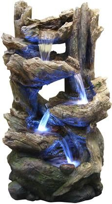 Our newest rainforest waterfall fountains have the look of natural stone and wood with the strength of fiberglass. The different tiers create multiple water flows that offers a relaxing and meditative enviornment. Can be placed indoors or out. Water Fountain Design, Table Fountain, Indoor Fountain, Fountain Ideas, Small Water Gardens, Indoor Water Features, Garden Water Fountains, Waterfall Fountain, Les Cascades