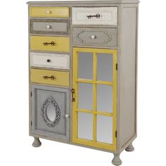 Add a vibrant focal point to your hallway or master bedroom with this decorative chest of drawers. Crafted from mindi wood with a yellow and beige finish, it...