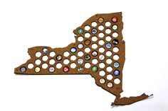 Beer Cap Map NEW YORK State USA, Beer Cap Holder, Beer Cap Display, Beer Aficionado Gift for Him, Groomsmen gift, Father's Day Cork, Plywood by BeerCapMapStore on Etsy