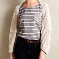 Anthropologie Patched Lace Shrug NWOT Lace metallic shrug sweater Anthropologie Sweaters Shrugs & Ponchos