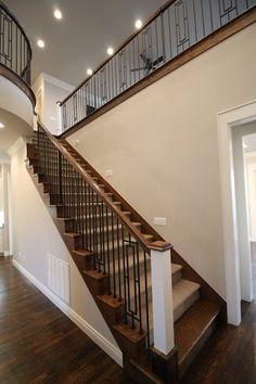 Stairwell. Benjamin Moore Collingwood Walls and Benjamin Moore white dove Trim.