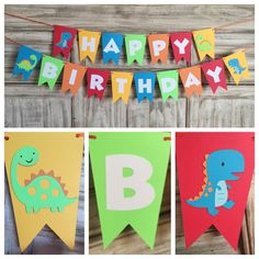 In this listing, you will receive this adorable dinosaur banner with the text of your choosing! Default colors are red, orange, yellow, green and blue (like cover photo) but ANY color combo is available! Just note in the note to seller section at checkout what your preference is! Please use the drop down to select the banner type you desire! The # of letters counts for letters only - every banner with come with banners on each side! Matching centerpieces…