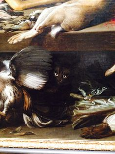 Black cat from Frans Snyders' Still life with dead game, 1614 @artinstitutechi #MewseumMonday