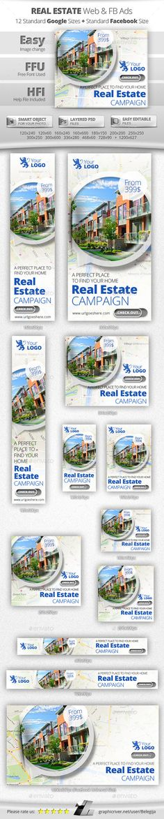 Real Estate Web & Facebook Banners Ads - Banners & Ads Web Elements