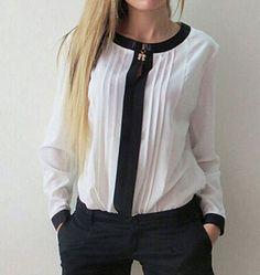 Moda para Mujer Señora Suelto Chifón Prendas para el torso Mangas largas Camisa Informal Blusa