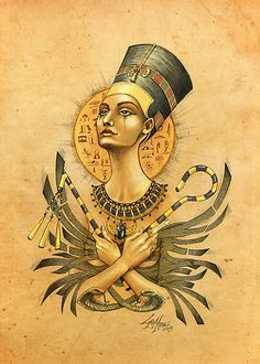 Ancient Memories Nefertiti - Art by Lorena Assisi: Egyptian Queen, Egyptian Goddess, Egyptian Art, Egyptian Jewelry, Isis Goddess, Character Illustration, Illustration Art, Character Sketches, Art Illustrations