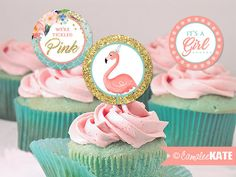 Tickled Pink Baby Shower - Tropical Flamingo Summer Shower - Girls Shower Ideas & Decorations - It's a Girl - pink and mint blue - gold glitter - digital printable party supplies - diy - cupcake toppers picks - favor tags - printables - etsy.com - Unique Girl Shower themes