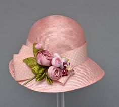 Pink Parasisal Straw Womens Hat  Downton Abby by MakowskyMillinery, $199.00