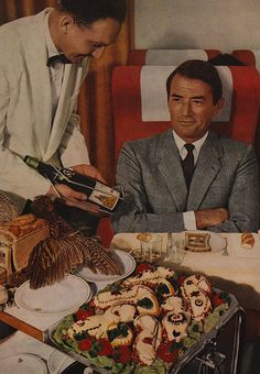 Gregory Peck flies Air France for the first-class treatment.