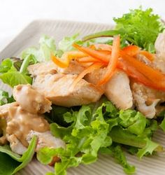 Bang Bang Chicken Salad, Lunches & Snacks, 4 Ingredients, Cooking with Kim Salad Recipes Video, Chicken Salad Recipes, Lunch Recipes, Salad Chicken, Dinner Recipes, Healthy Foods To Eat, Healthy Eating, Healthy Recipes, Bang Bang Chicken