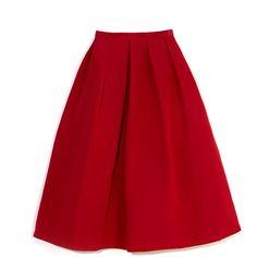 Tibi: Deep Coral Silk Faille Full Skirt ($525) ❤ liked on Polyvore
