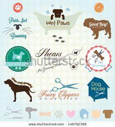 Vector Set: Retro Pet Grooming Labels - stock vector