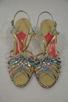 Schiaparelli Rainbow Metallic Strappy Sandals, 1950s