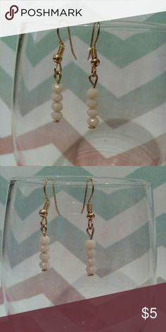 Beautiful Ivory Colored Beaded Dangle Earrings Designed in the USA, beautiful ivory colored beads dangle, perfect for any occasion, lead and nickel compliant Jewelry Earrings